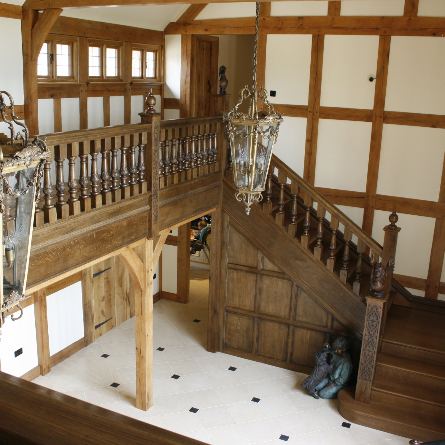 Bespoke oak gallery and staircase