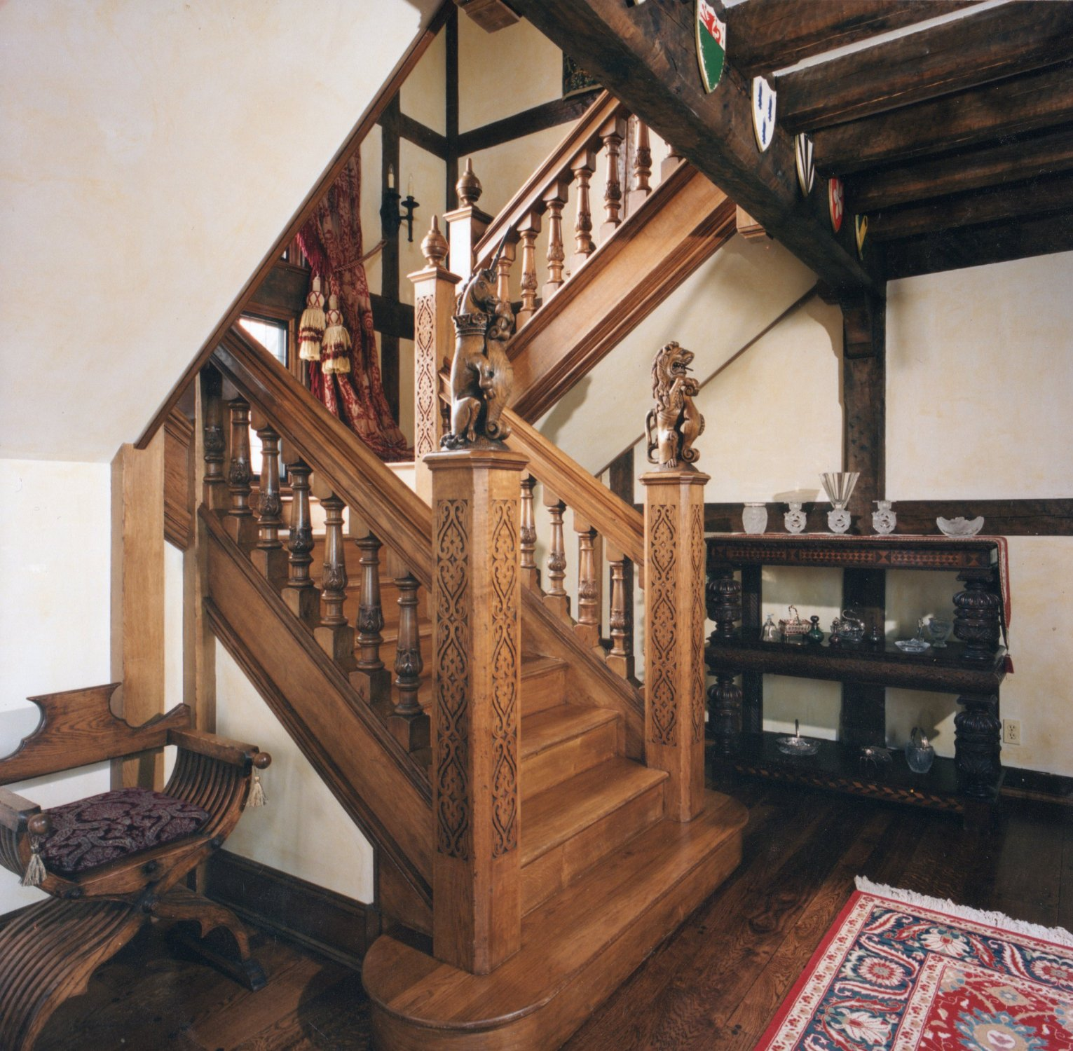 C16th style hand carved oak staircase
