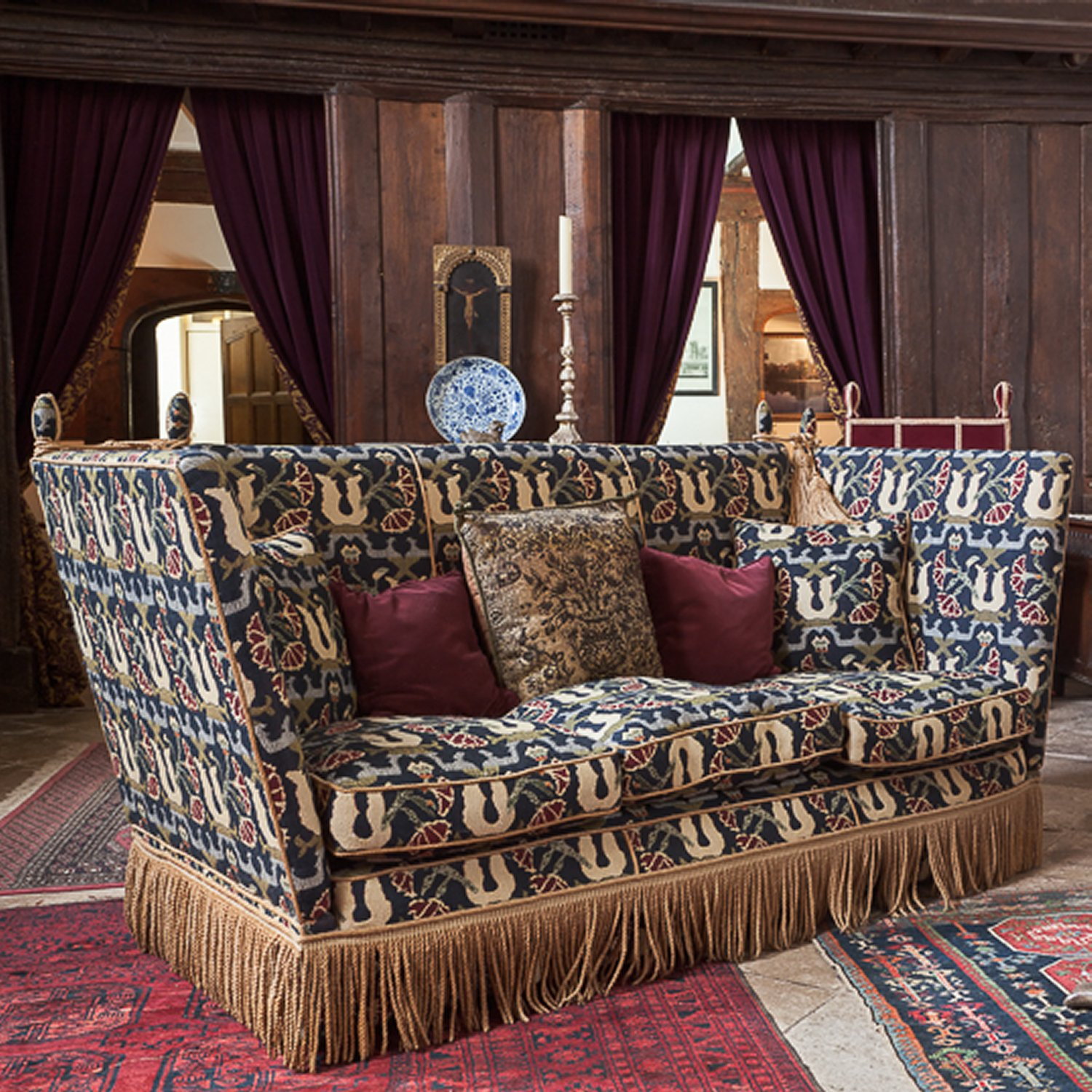 Knole Settee in 'Pomegranate' for the Great Hall