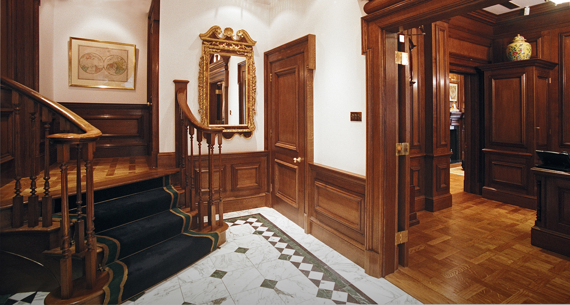 Oak panelling doors and staircase