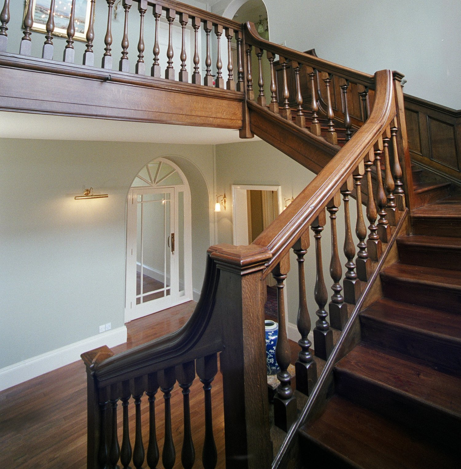 The oak staircase, restored after fire damage