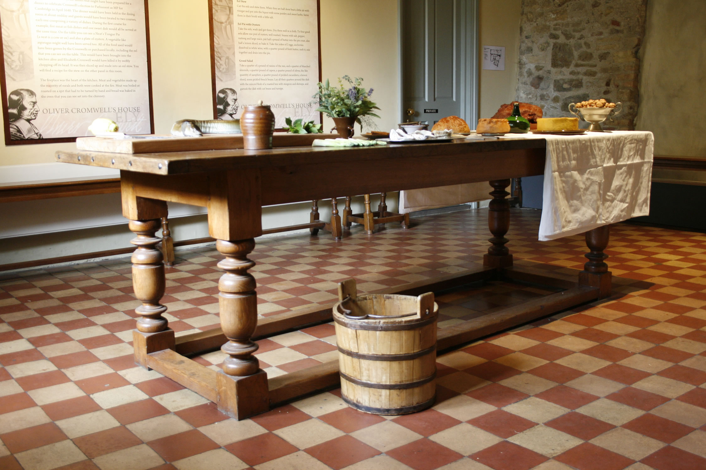 Oak refectory table for Oliver Cromwell's House, Ely