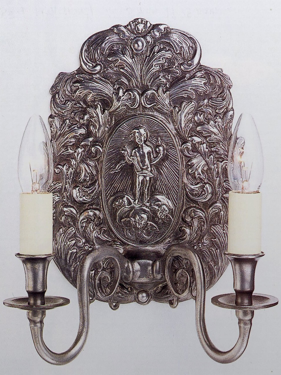 Repousser Wall Sconce in Pewter