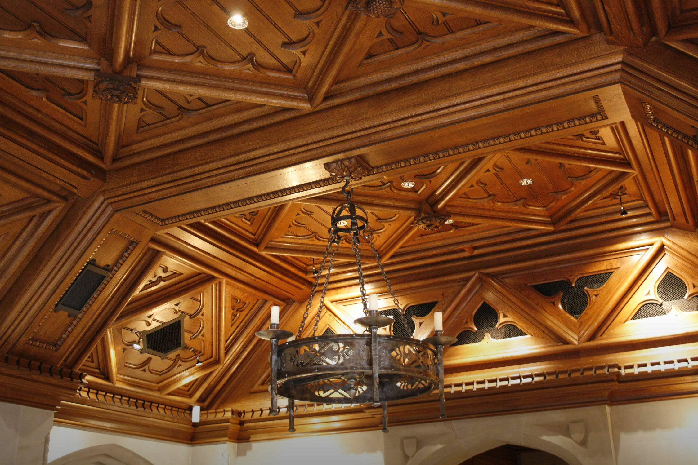 Gothic style solid oak ceiling