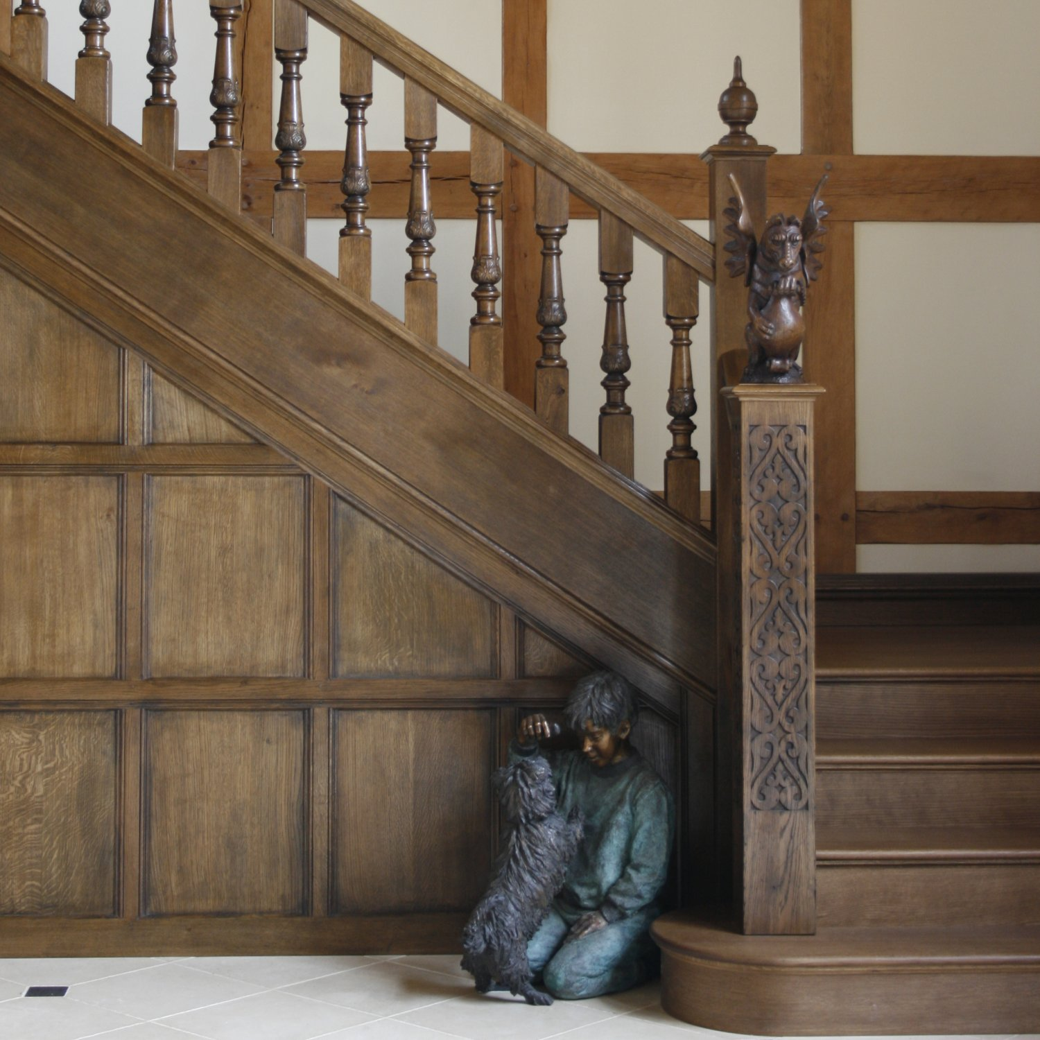 Bespoke Solid Oak Staircase And Panelling
