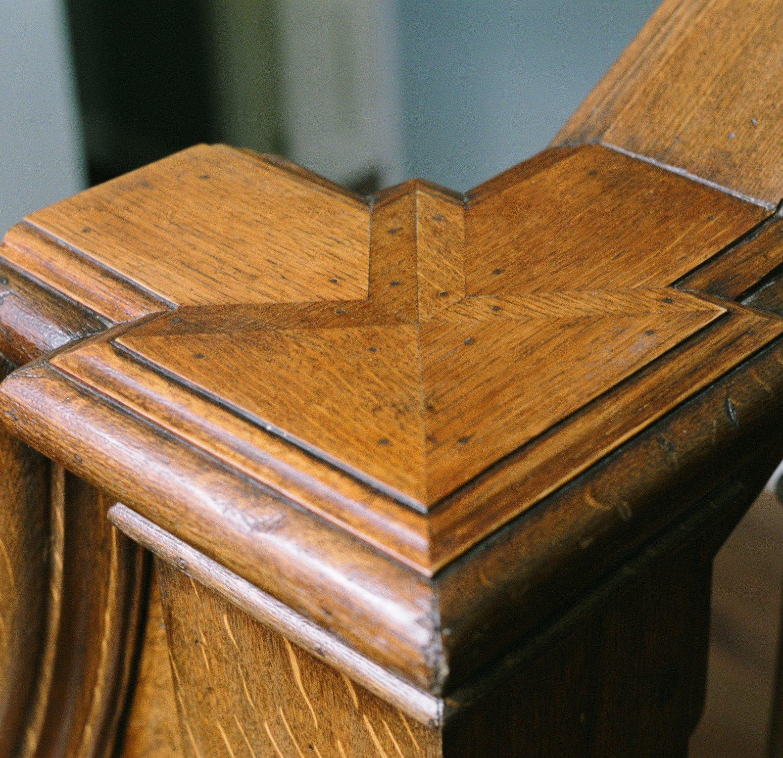 Detail of the oak newel cap