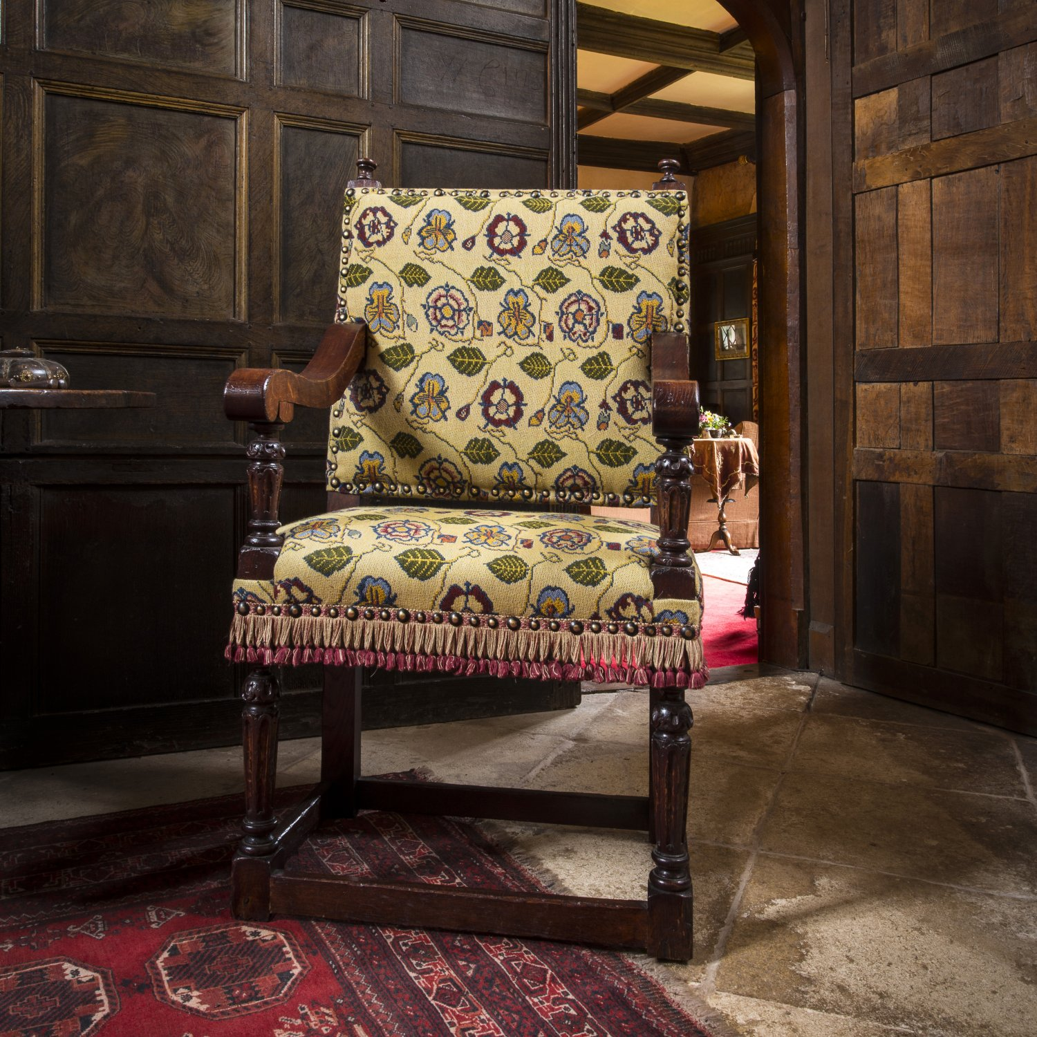 Elizabethan Arm Chair, upholstered in 'Rose & Pansy'