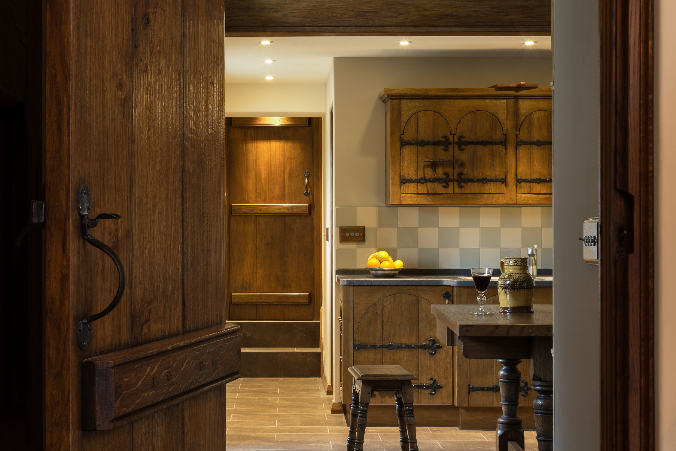 Solid oak kitchen, inspired by a medieval cupboard from Aubazine, France