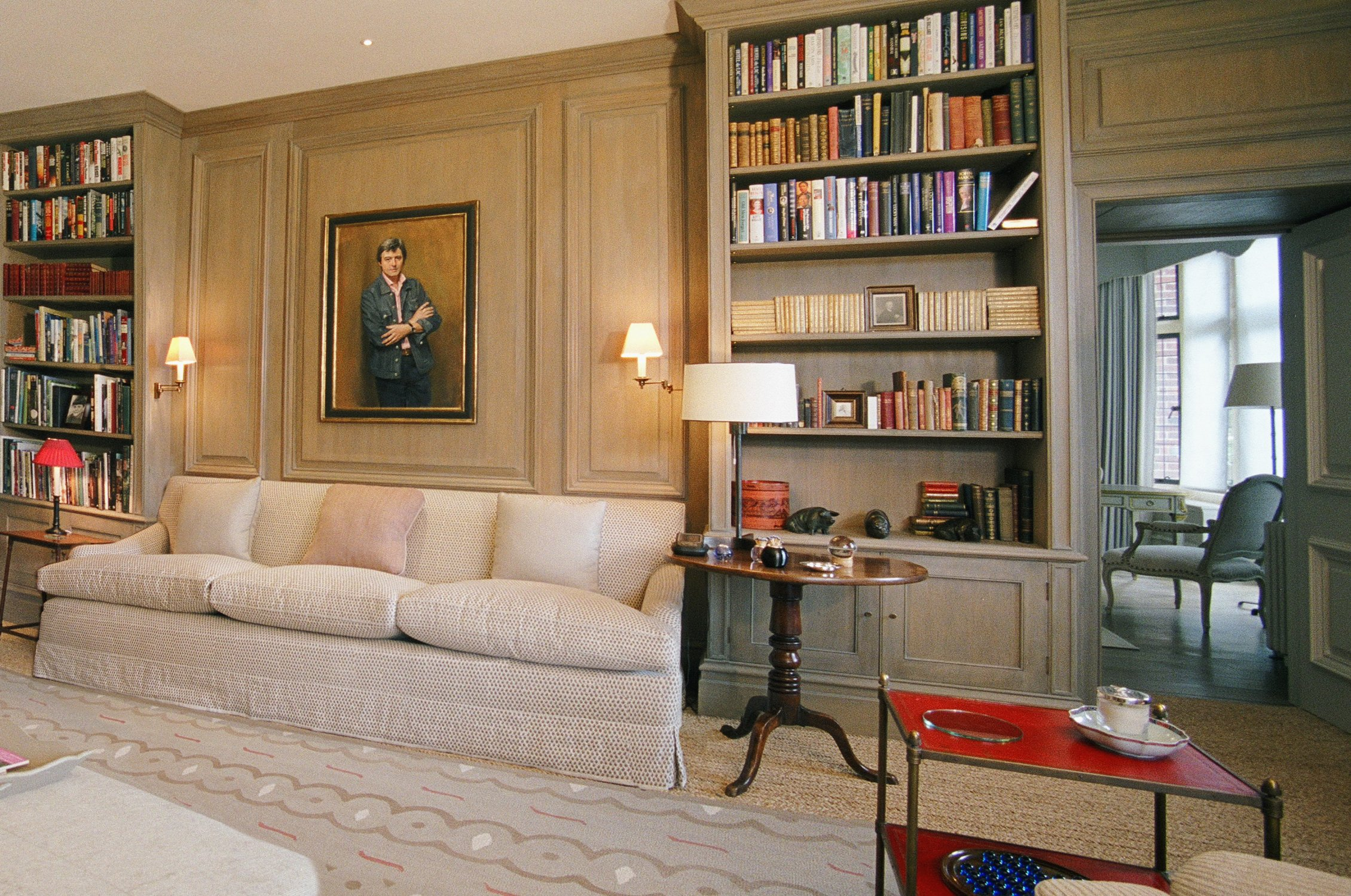 Oak bookcases in the Drawing Room