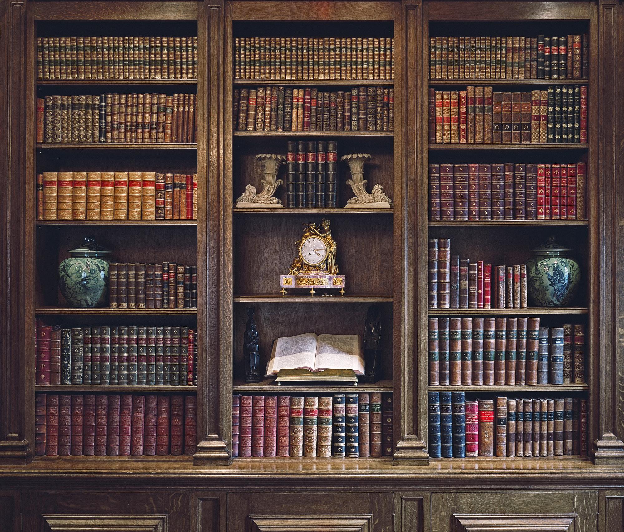 Georgian style oak library