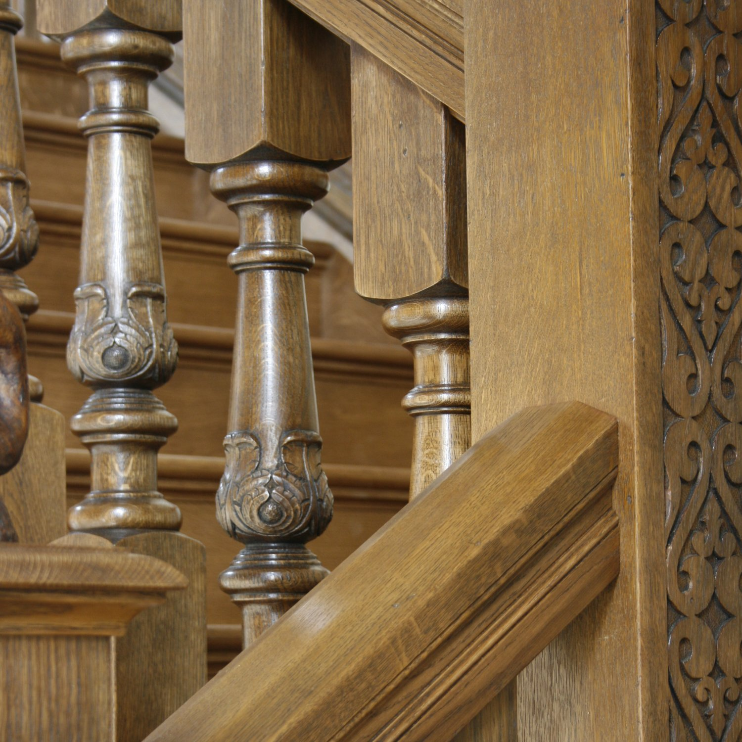 Hand carved balusters and newel post in oak