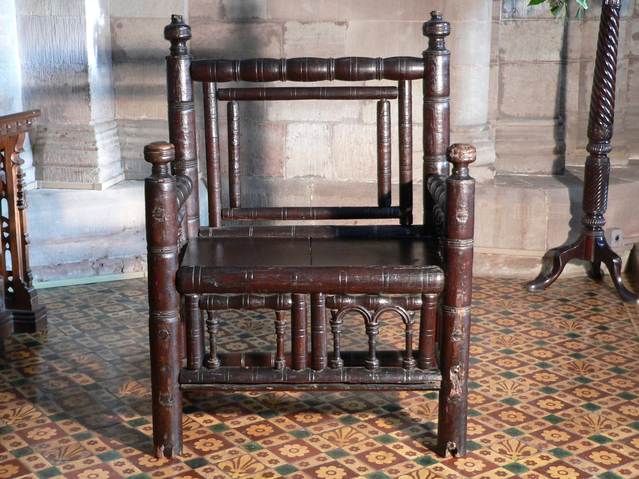 The original medieval chair from Hereford Cathedral