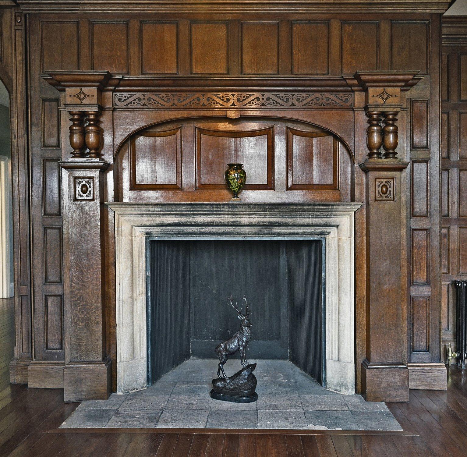 Arts & Crafts style oak overmantel