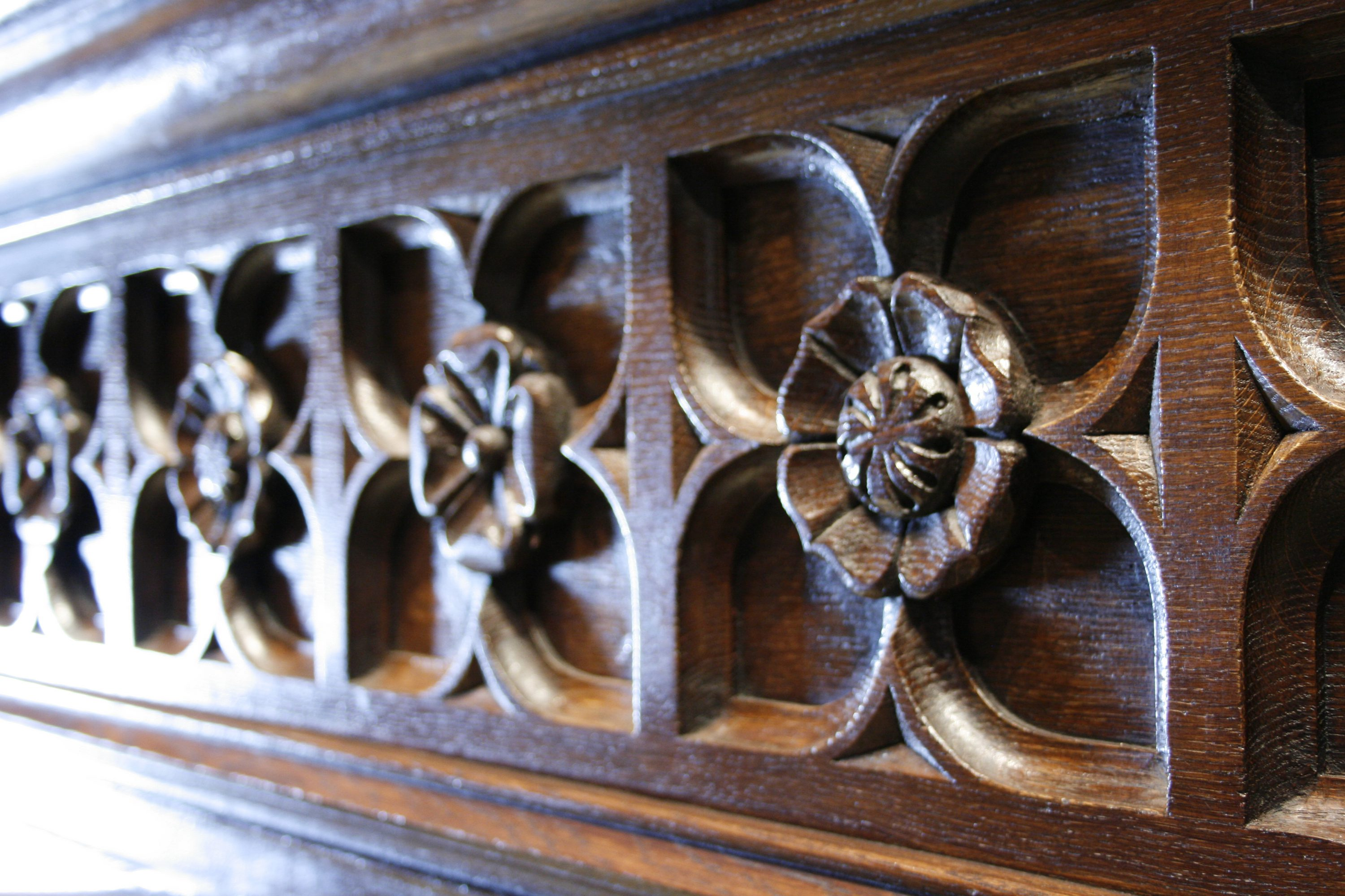 Carved detail of a Gothic dining hall