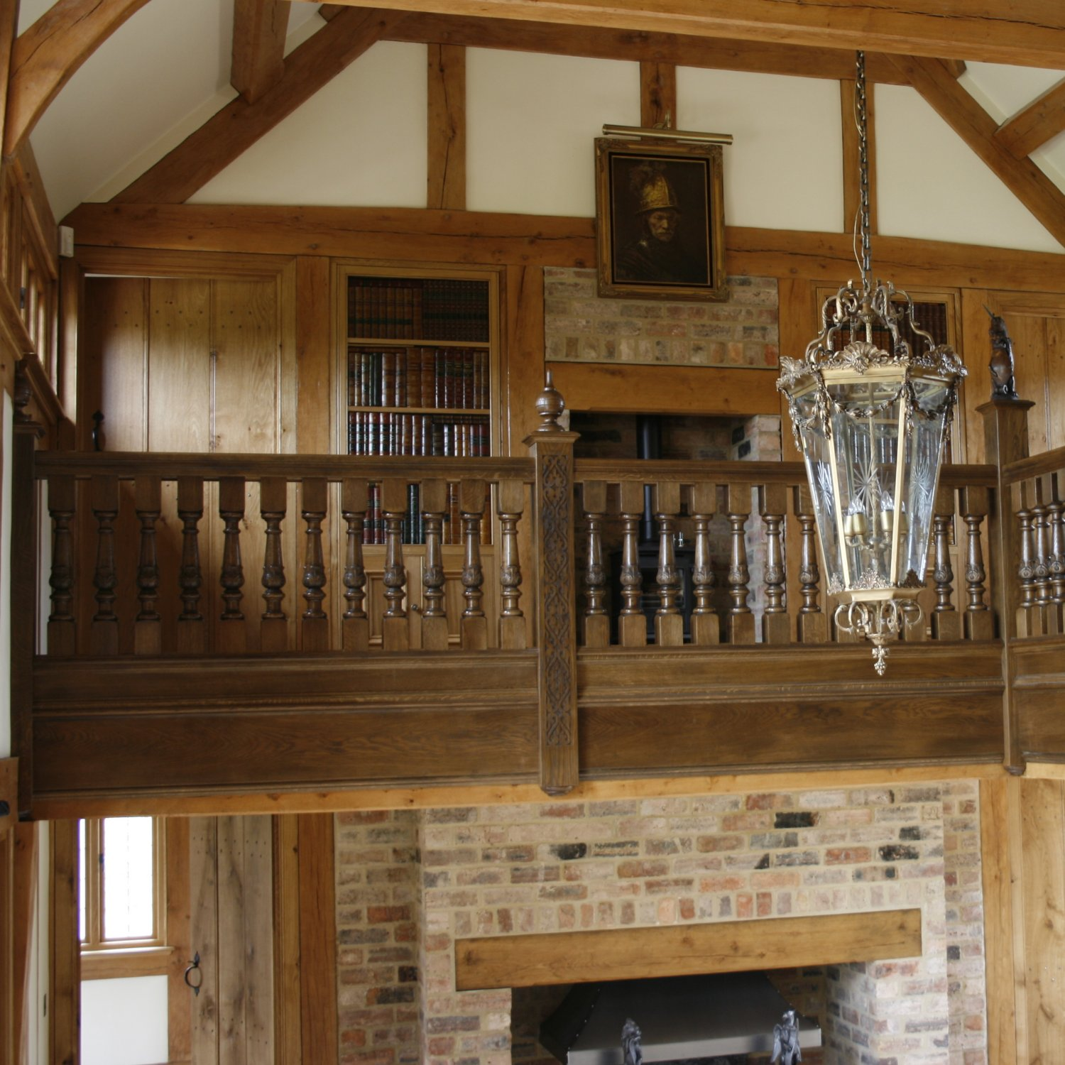 Gallery landing with oak balustrade