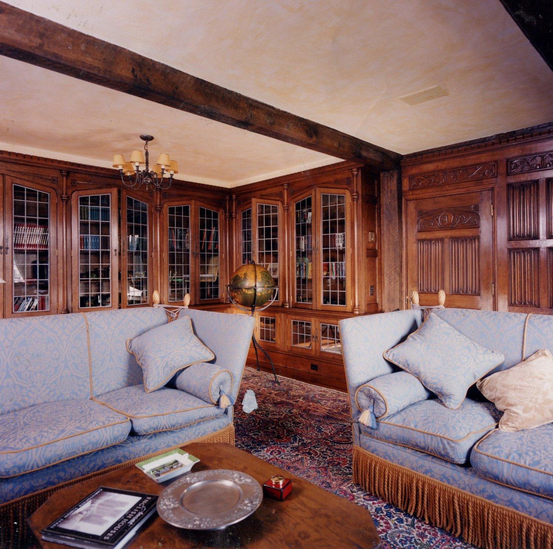 Tudor style oak panelled library
