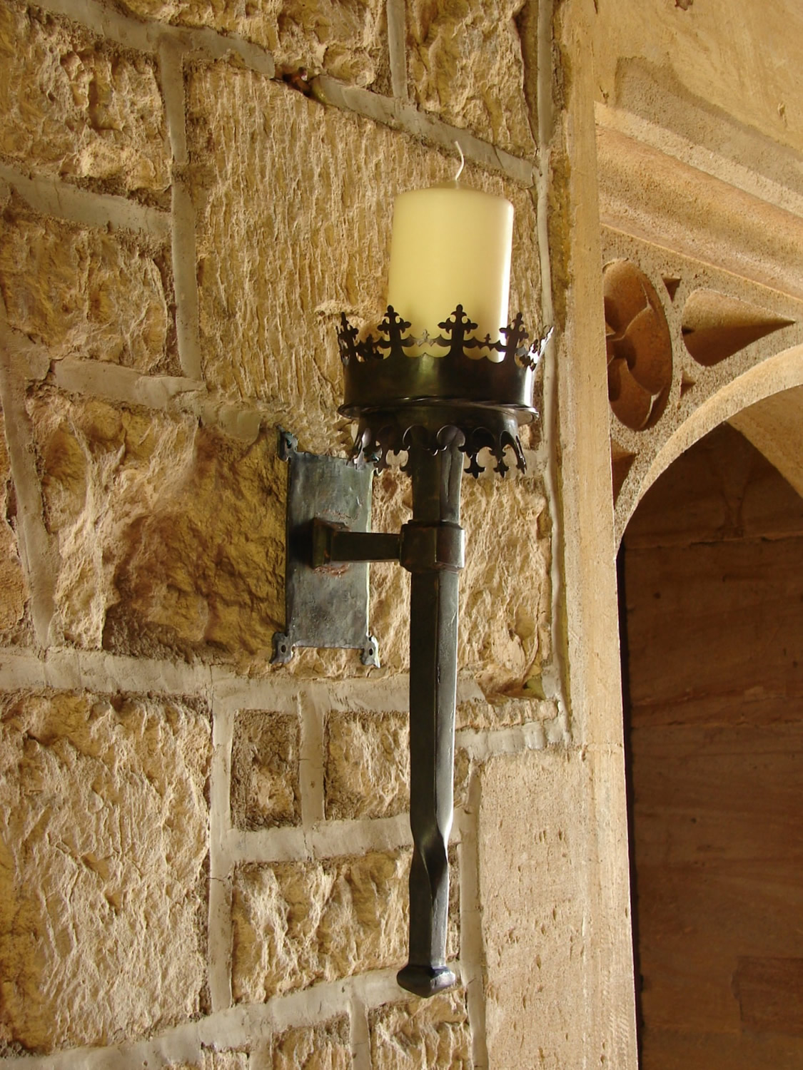 Small Gothic Wall Torch in Iron