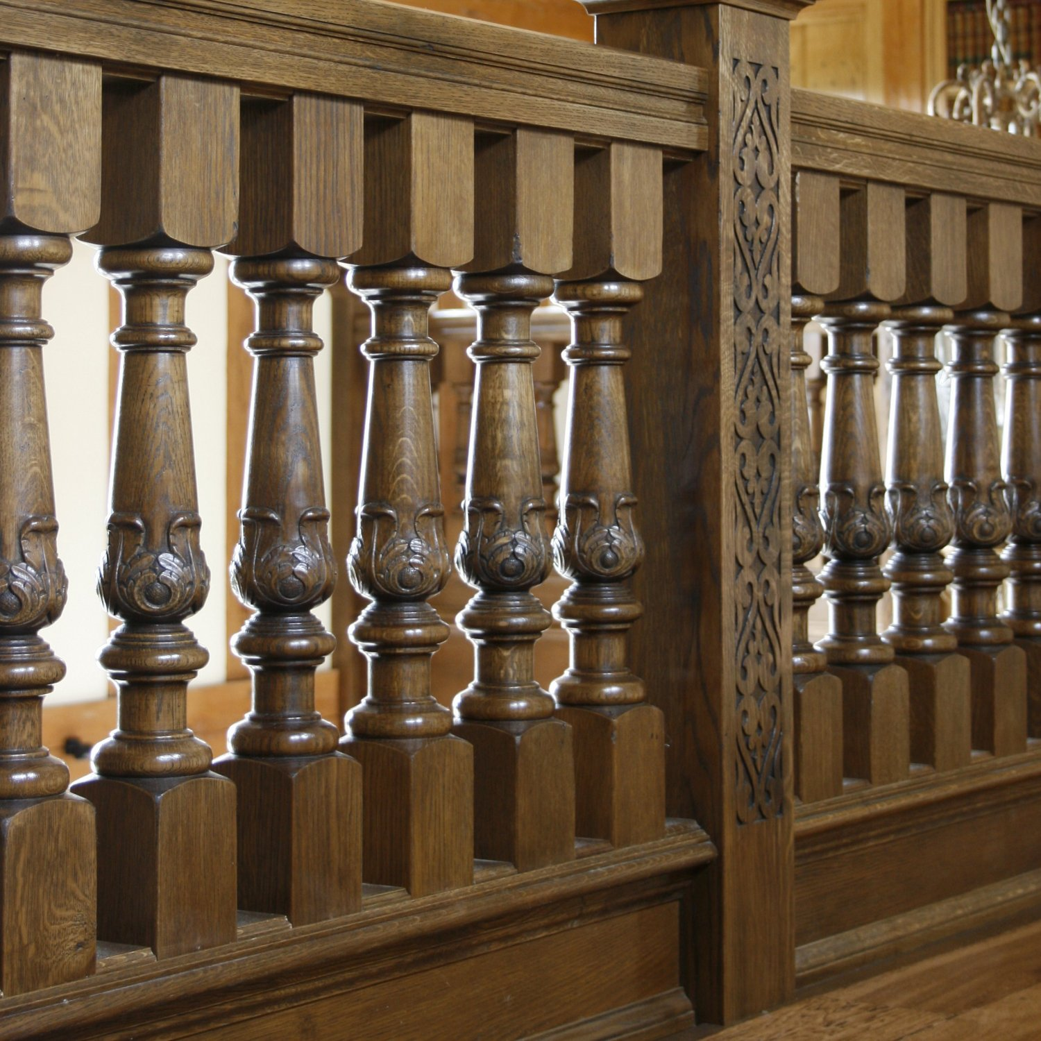 Hand carved oak balusters