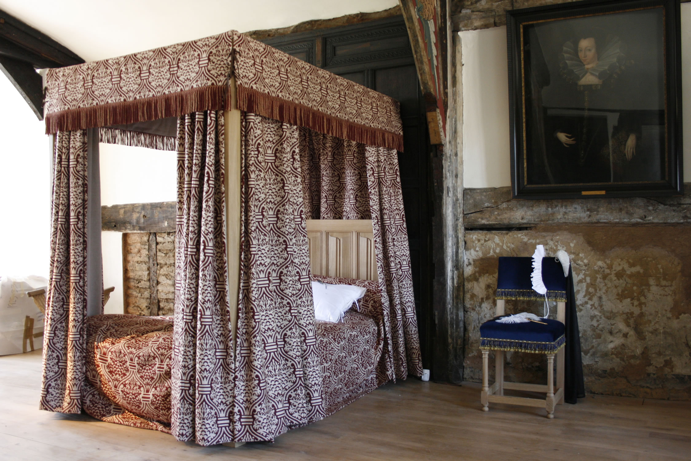 Carved oak tester bed with drapes for C16th Ordsall Hall, Manchester