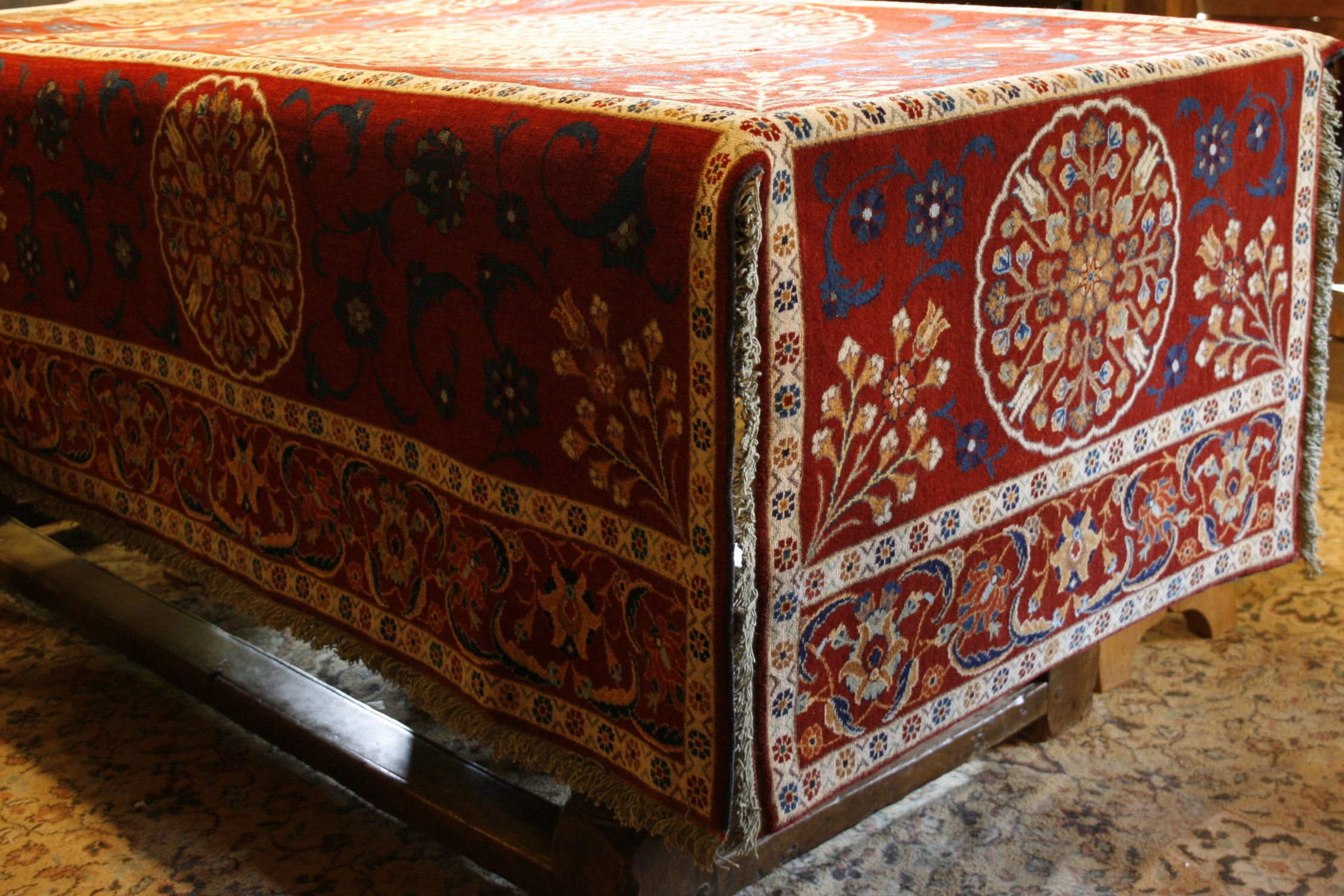 Hand knotted table carpet, specially designed and made to order