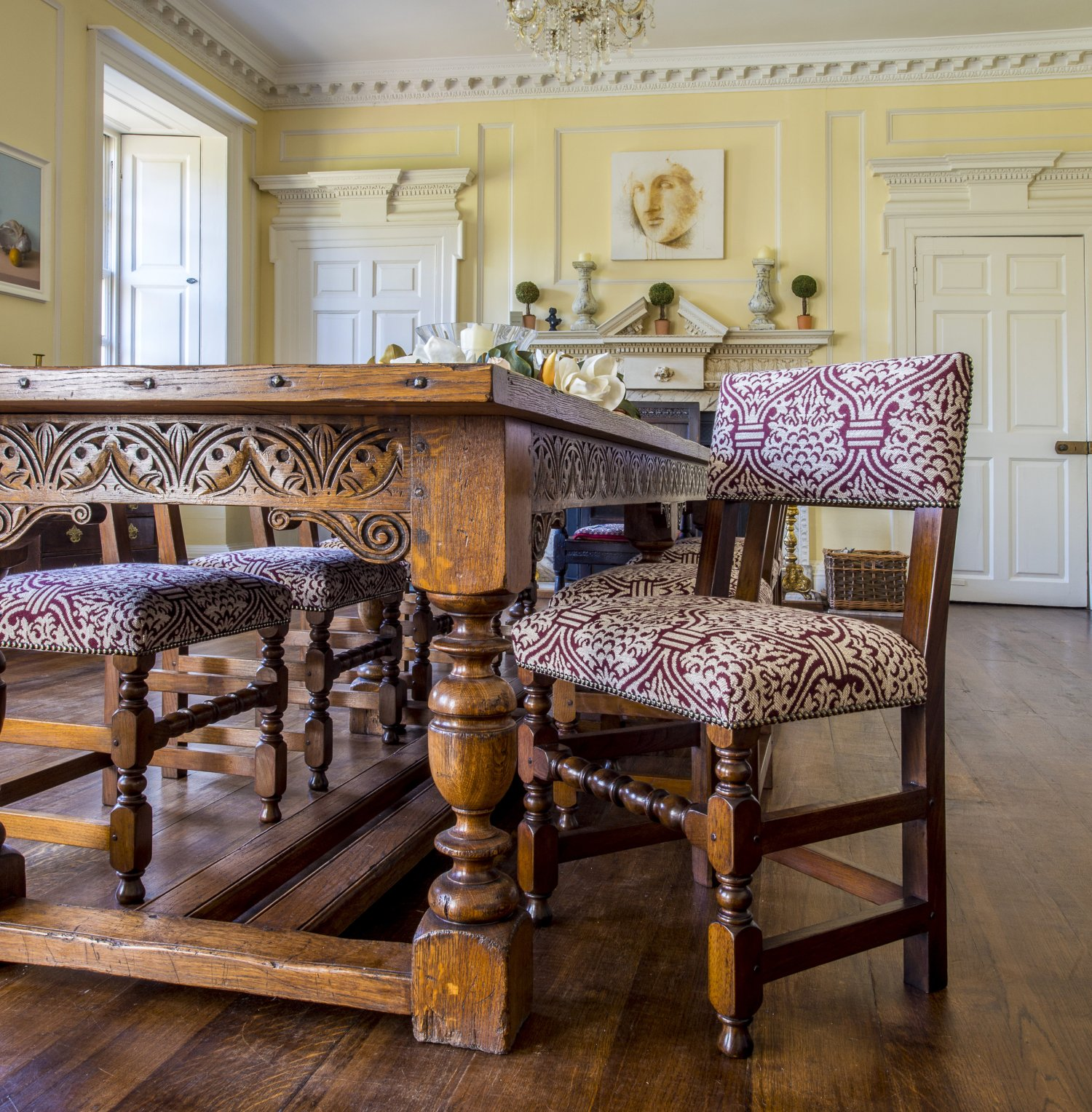 Charles I Oak Dining Table and Backstools in 'Pomegranate' for the Dining Room