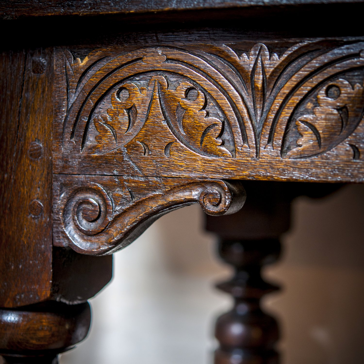 Detail of our Charles I Dining Table