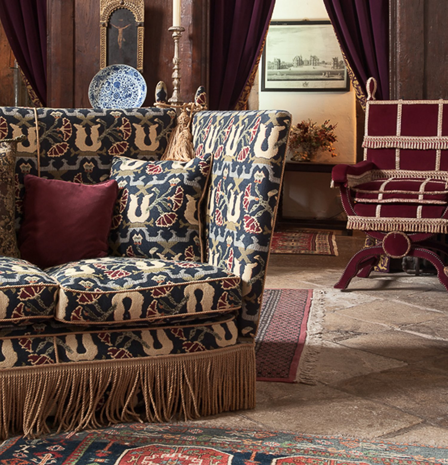 Knole Settee and upholstered Tudor Throne