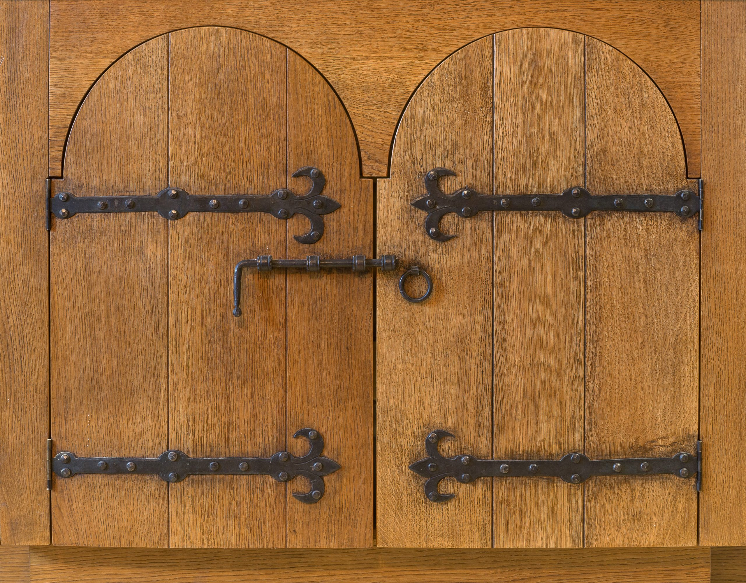 Oak cupboard doors with hand forged ironwork