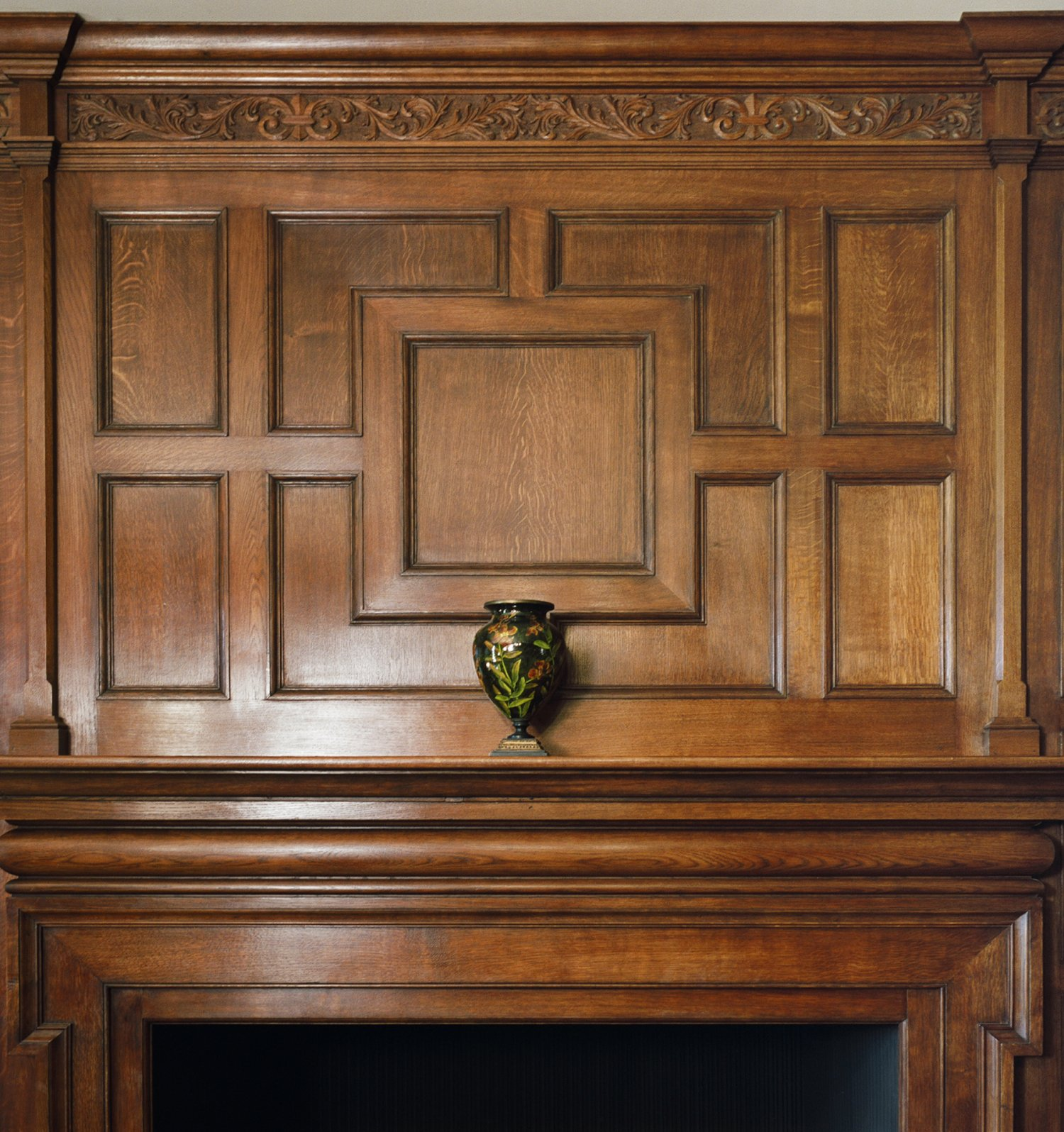 Oak overmantel for the Library