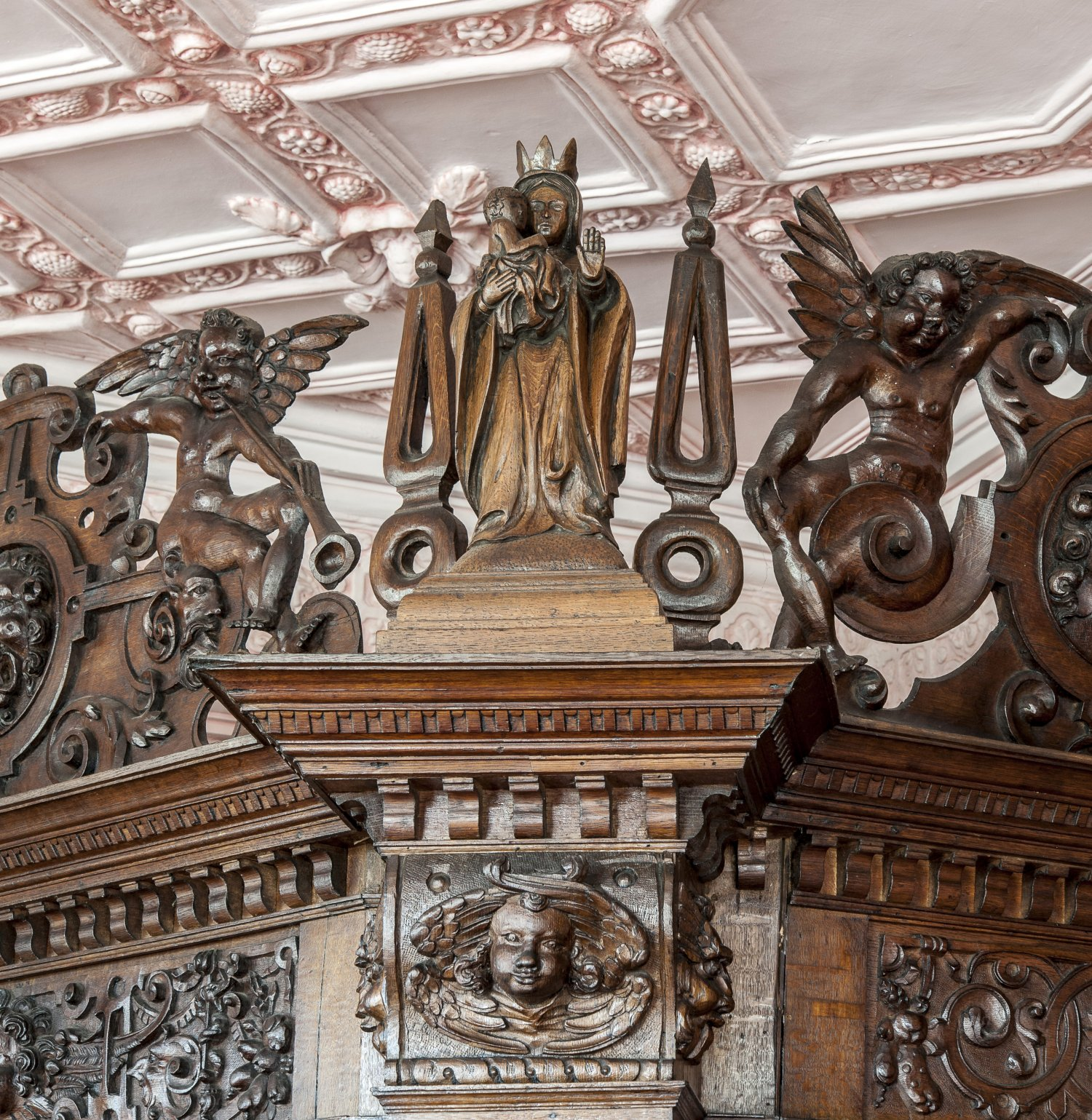 Restoration and replacement carvings in the late C16th Job Room