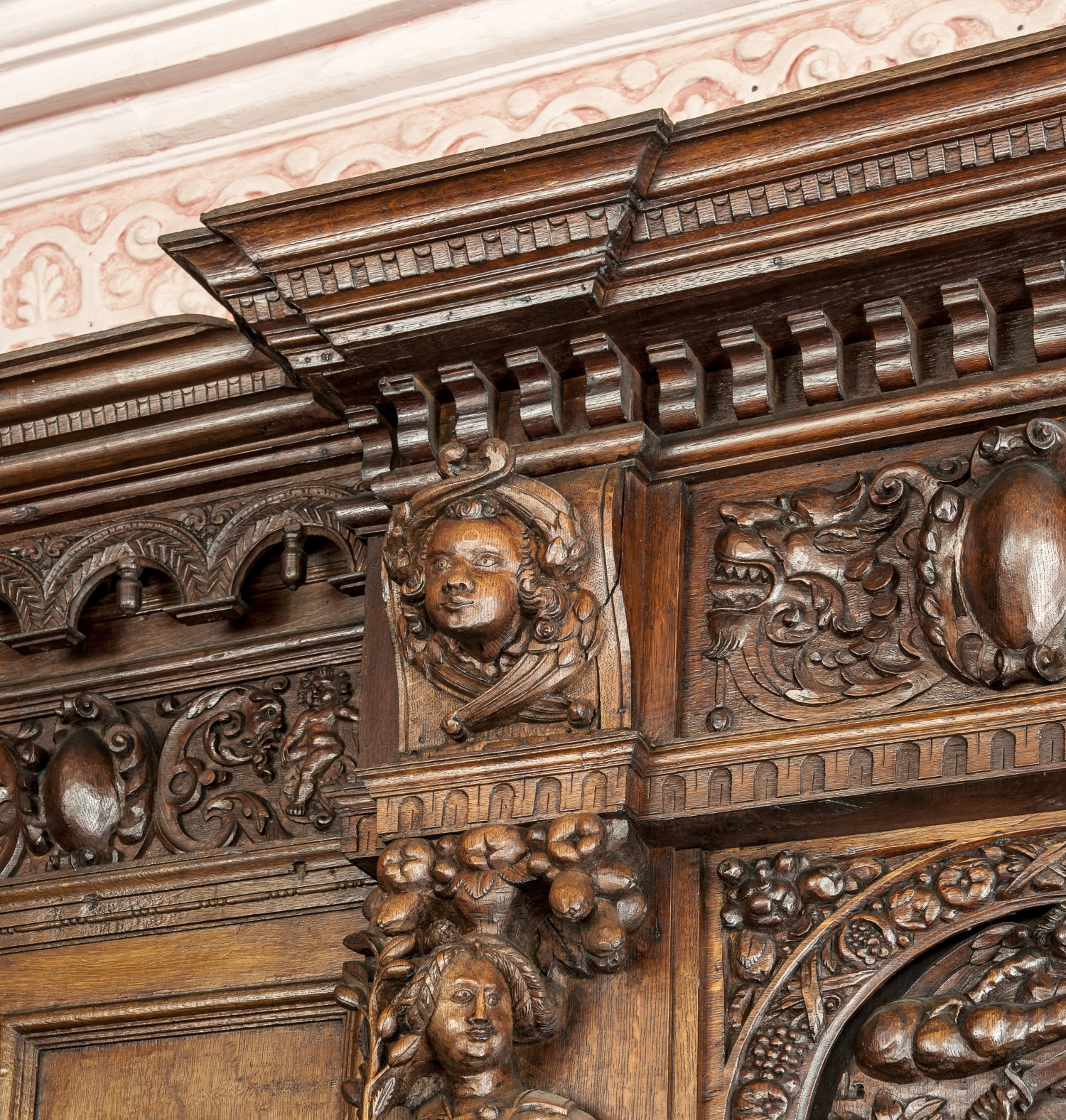 Restoration of the magnificent original late C16th oak joinery
