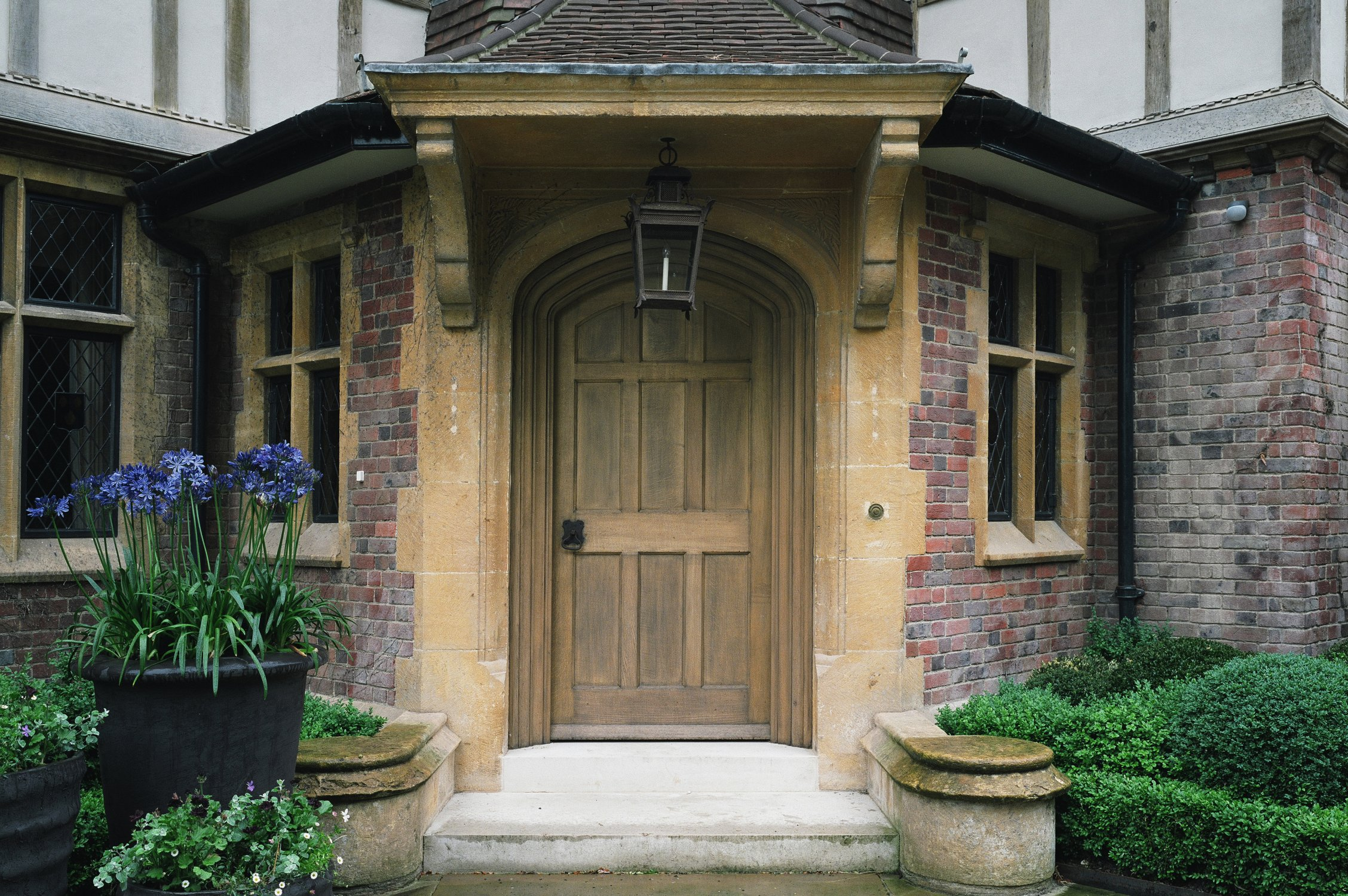Solid oak arched main entrance door
