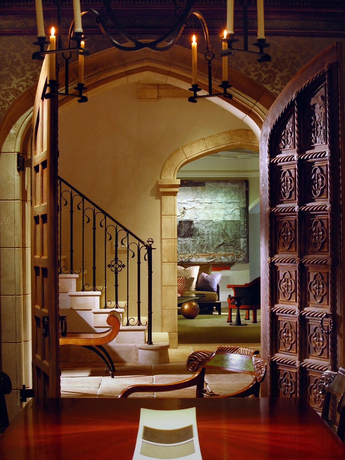 Hand-carved arched oak doors, specially designed for a private home in the USA