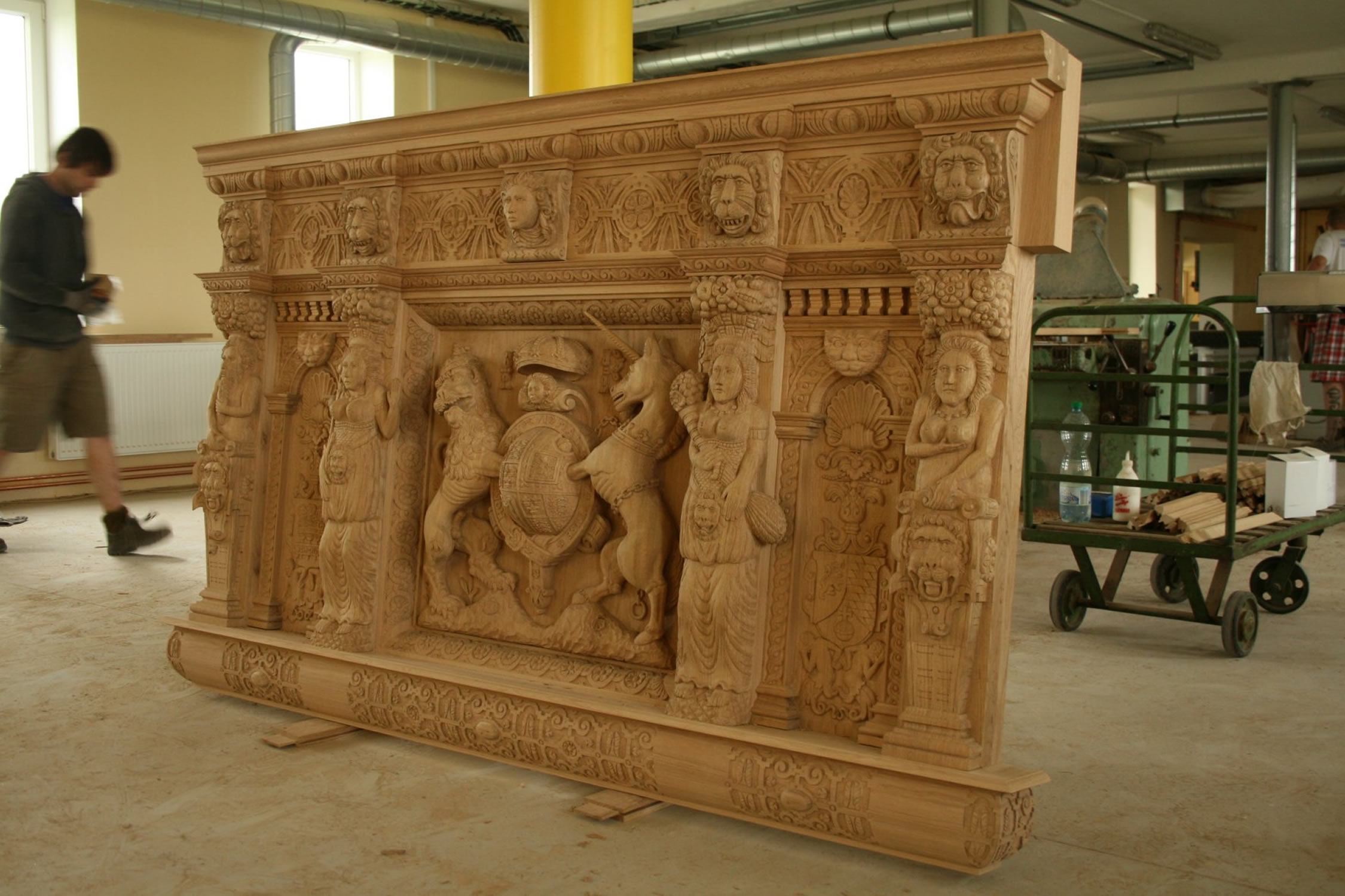 Work in progress - Hand carved oak headboard for a private client in London