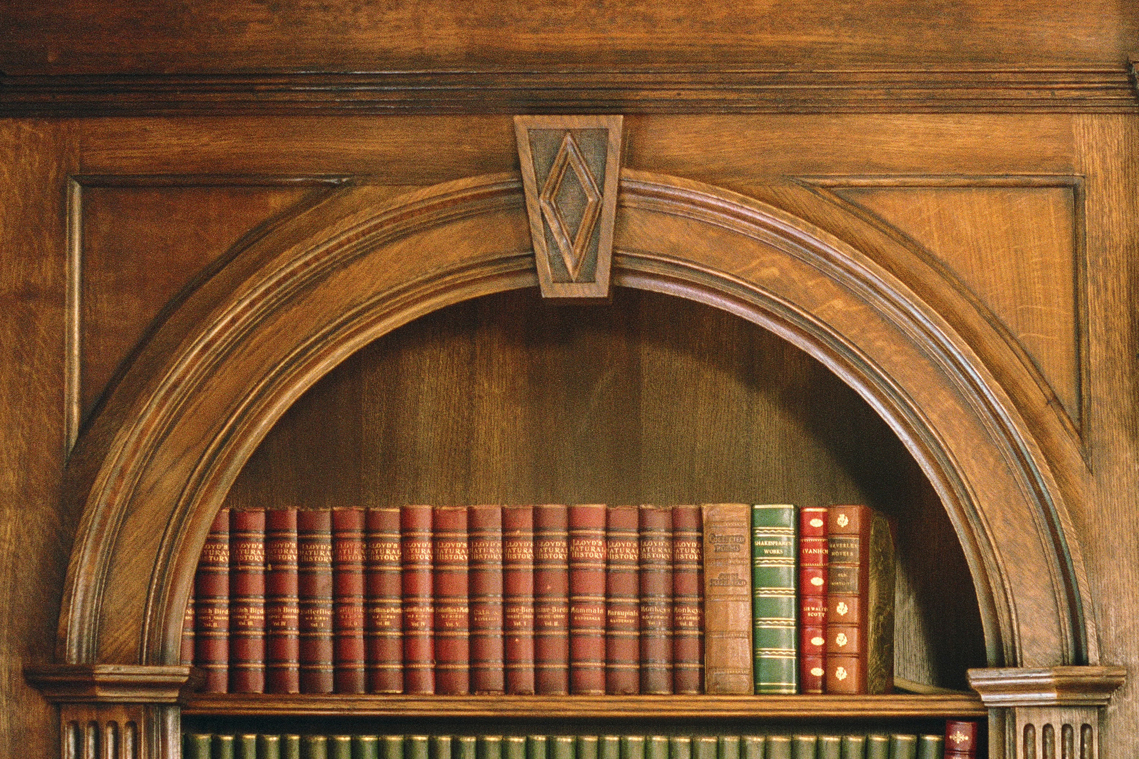 Detail of bespoke oak bookcase