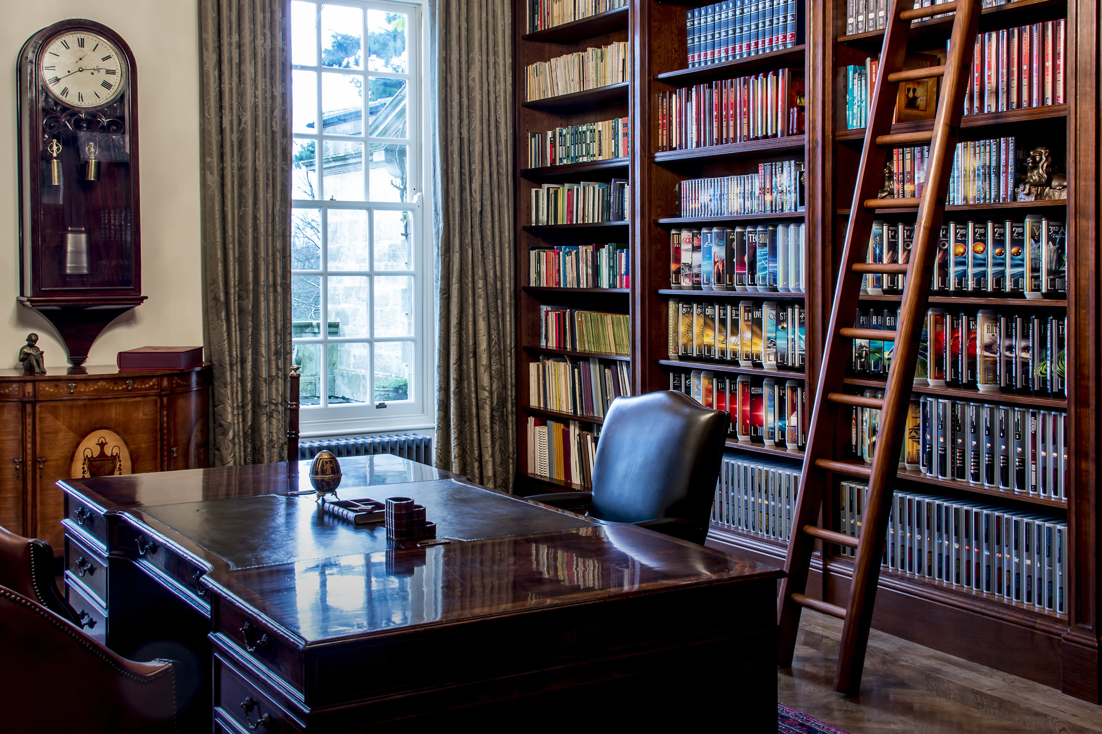 Traditional soild oak library for a West Sussex Manor