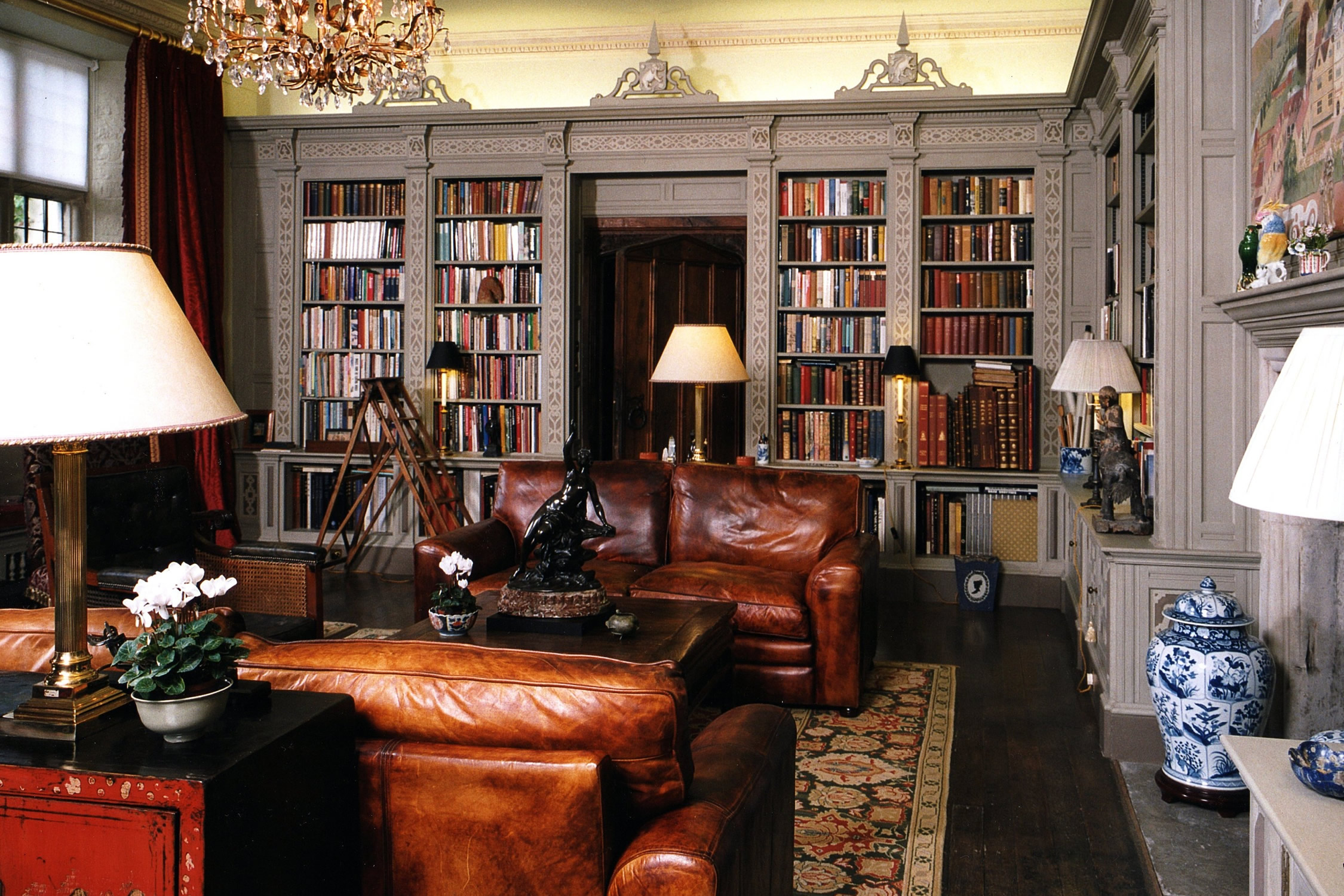 Painted library for a private home in Wiltshire
