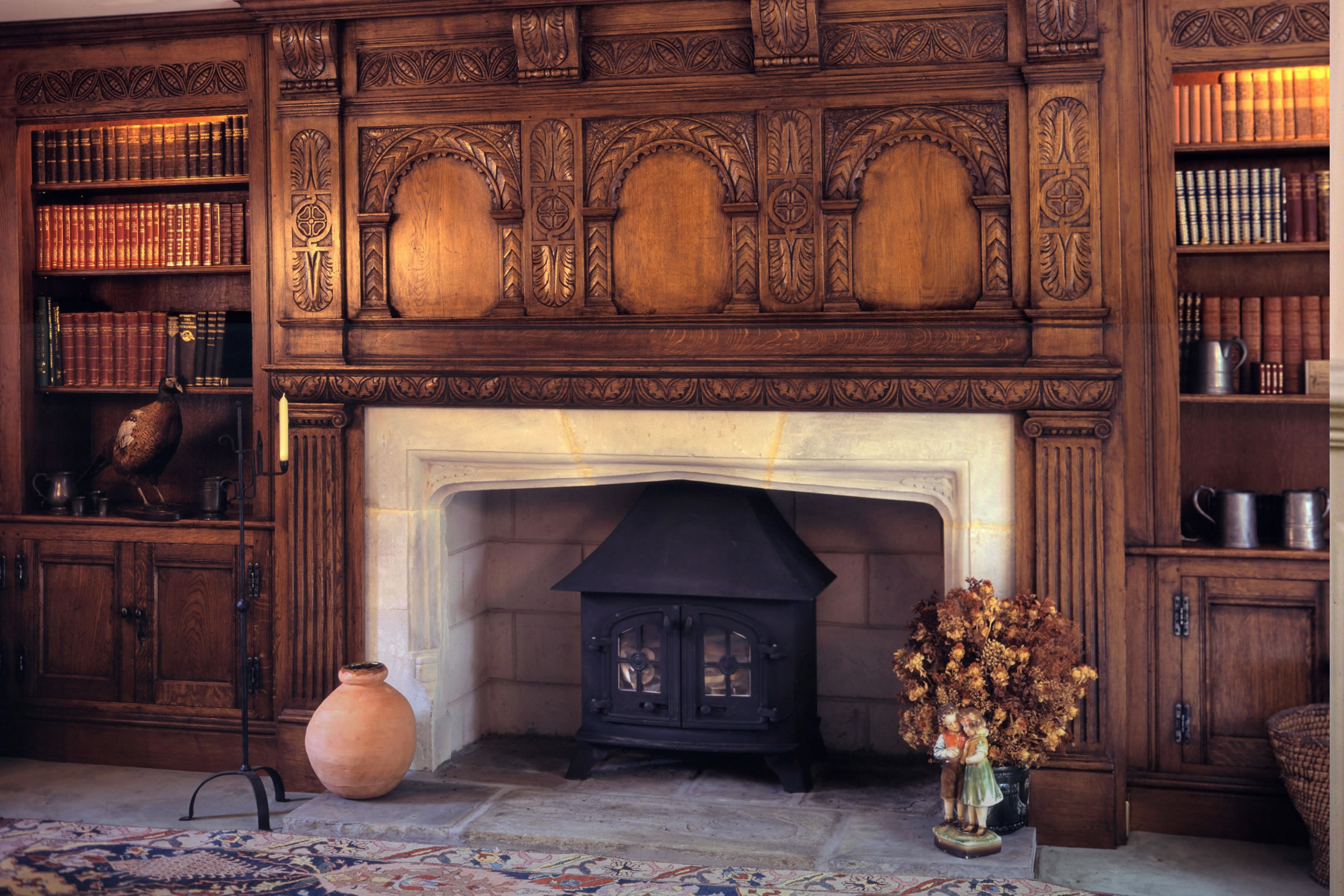 C17th style hand-carved Westcountry overmantel