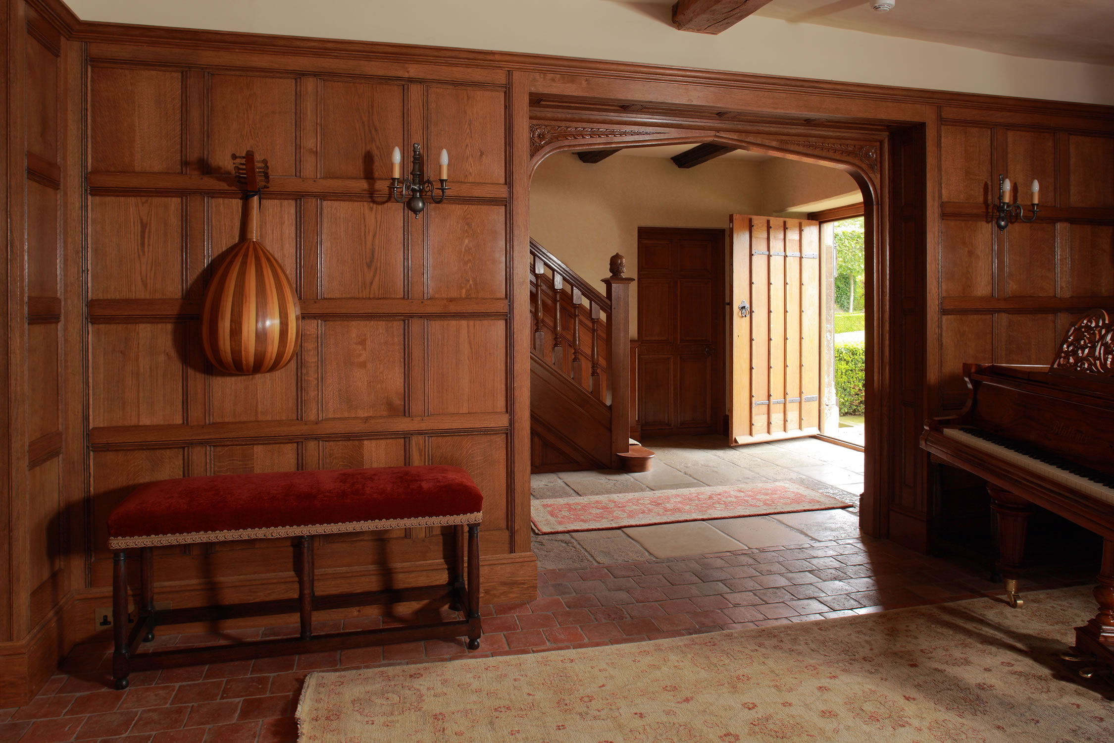 Soild oak panelling, staircase and entrance door