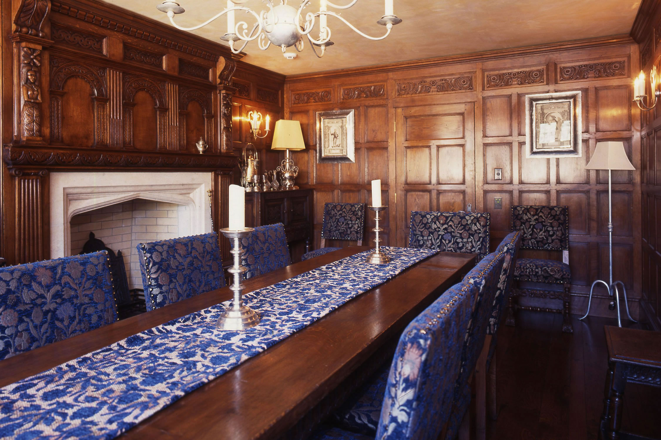 C17th style oak panelled dining room