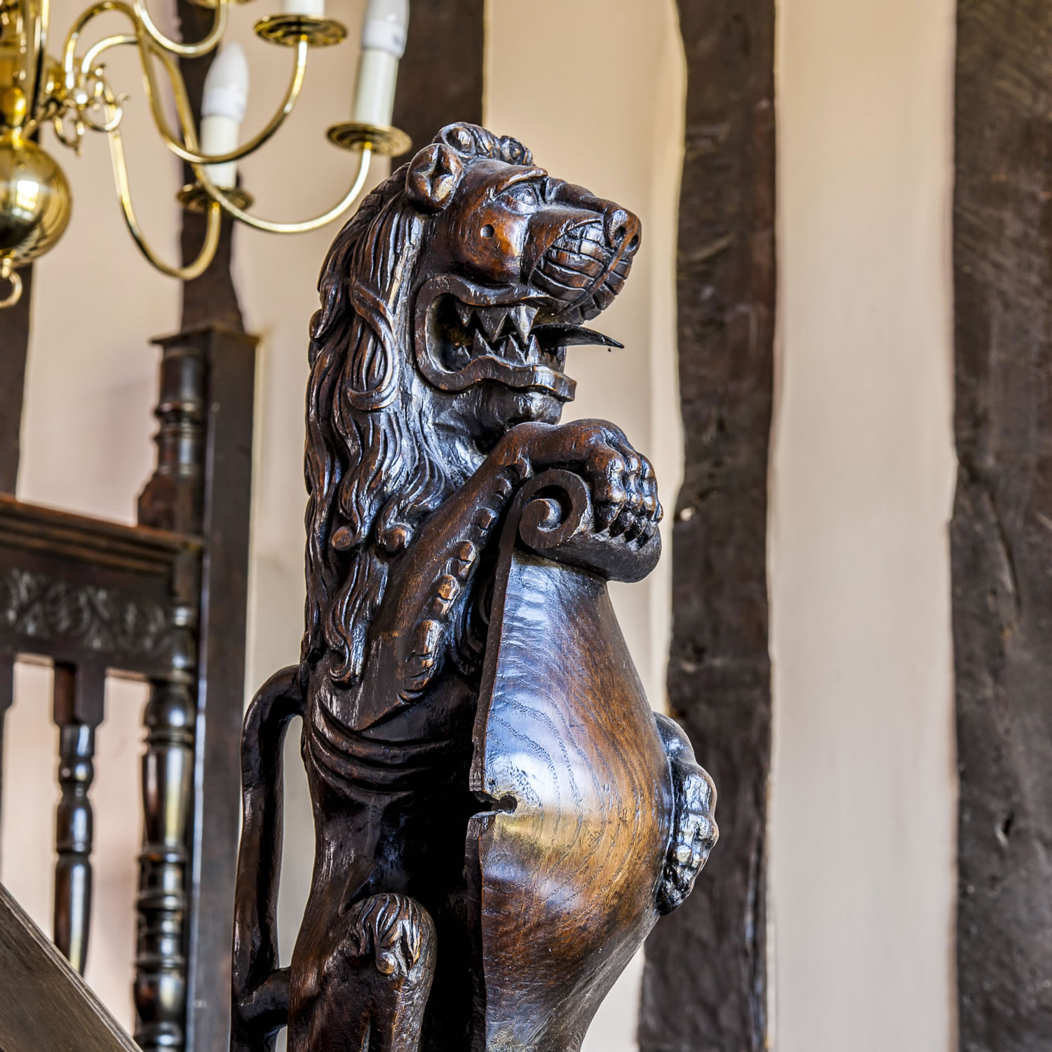 Majestic carved oak finial as part of the restoration of an original staircase
