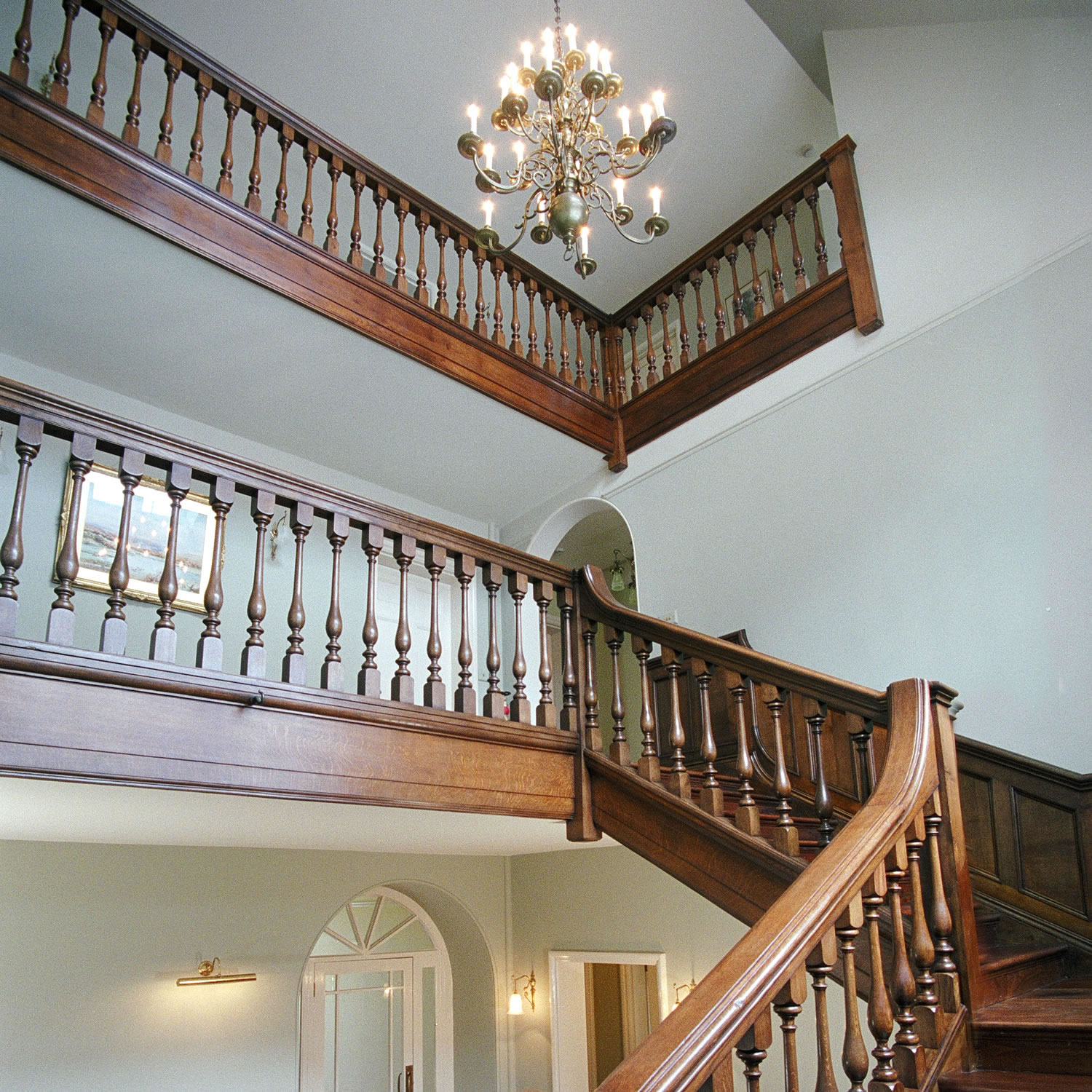 Three storey solid oak staircase for an Arts & Crafts Manor in Somerset