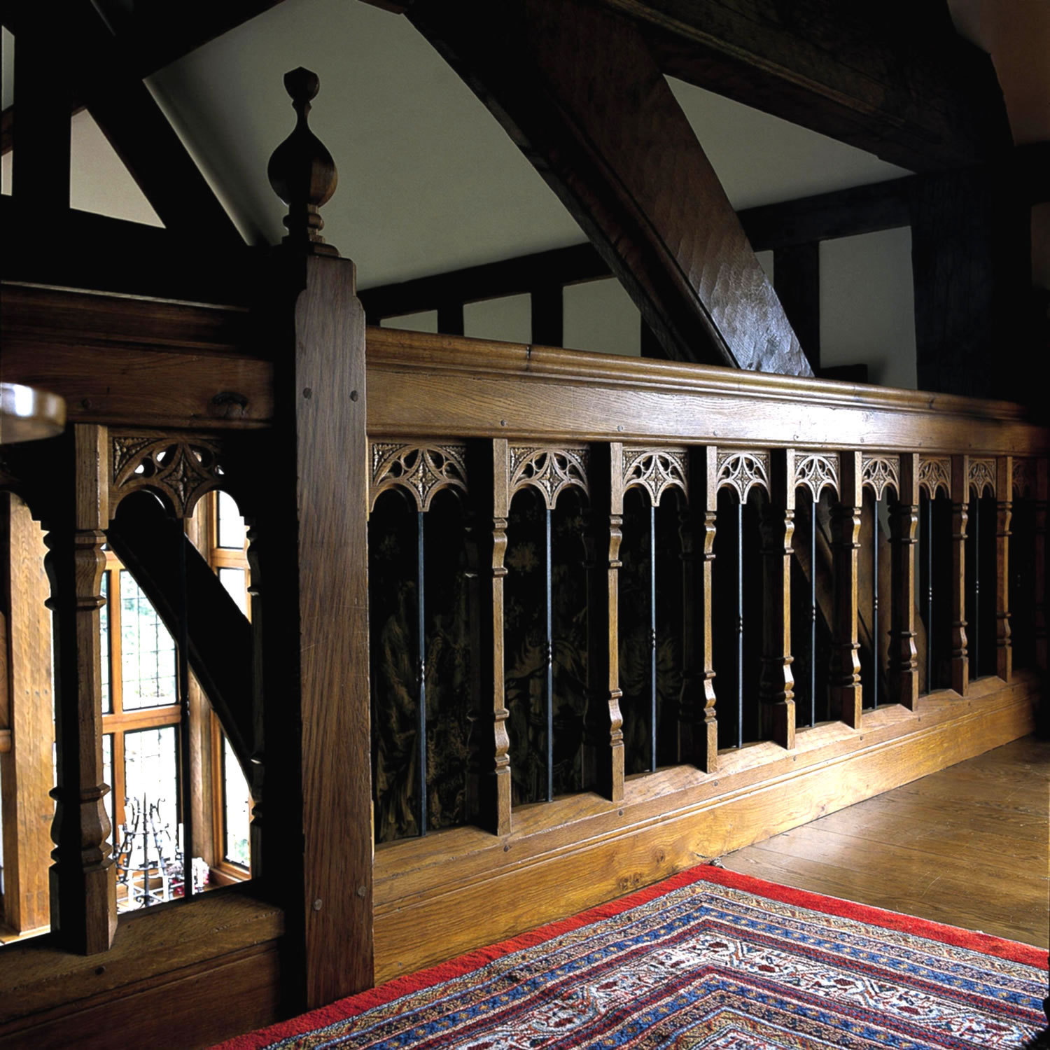 Gothic style soild oak & iron staircase, specially designed and made to order for a private client in Surrey
