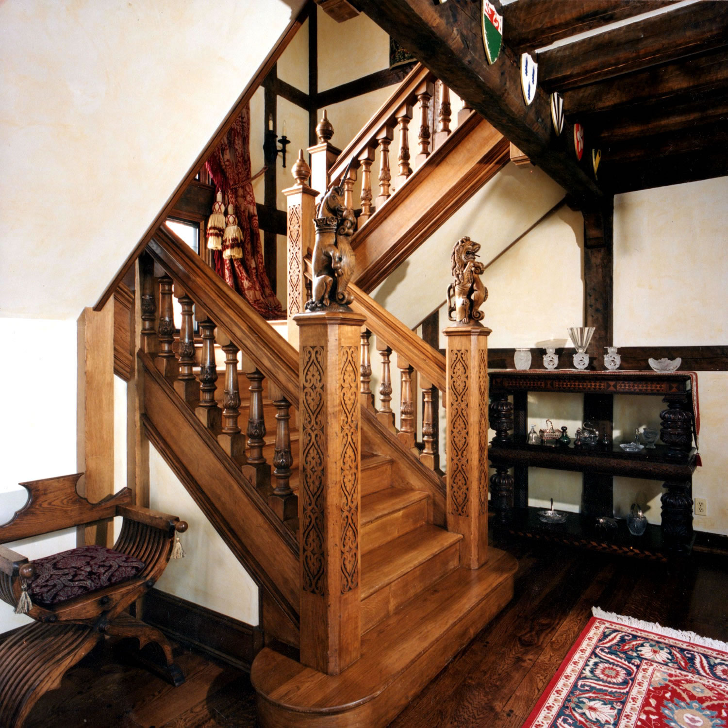 Tudor style oak staircase, designed and installed for a private home in Connecticut, USA