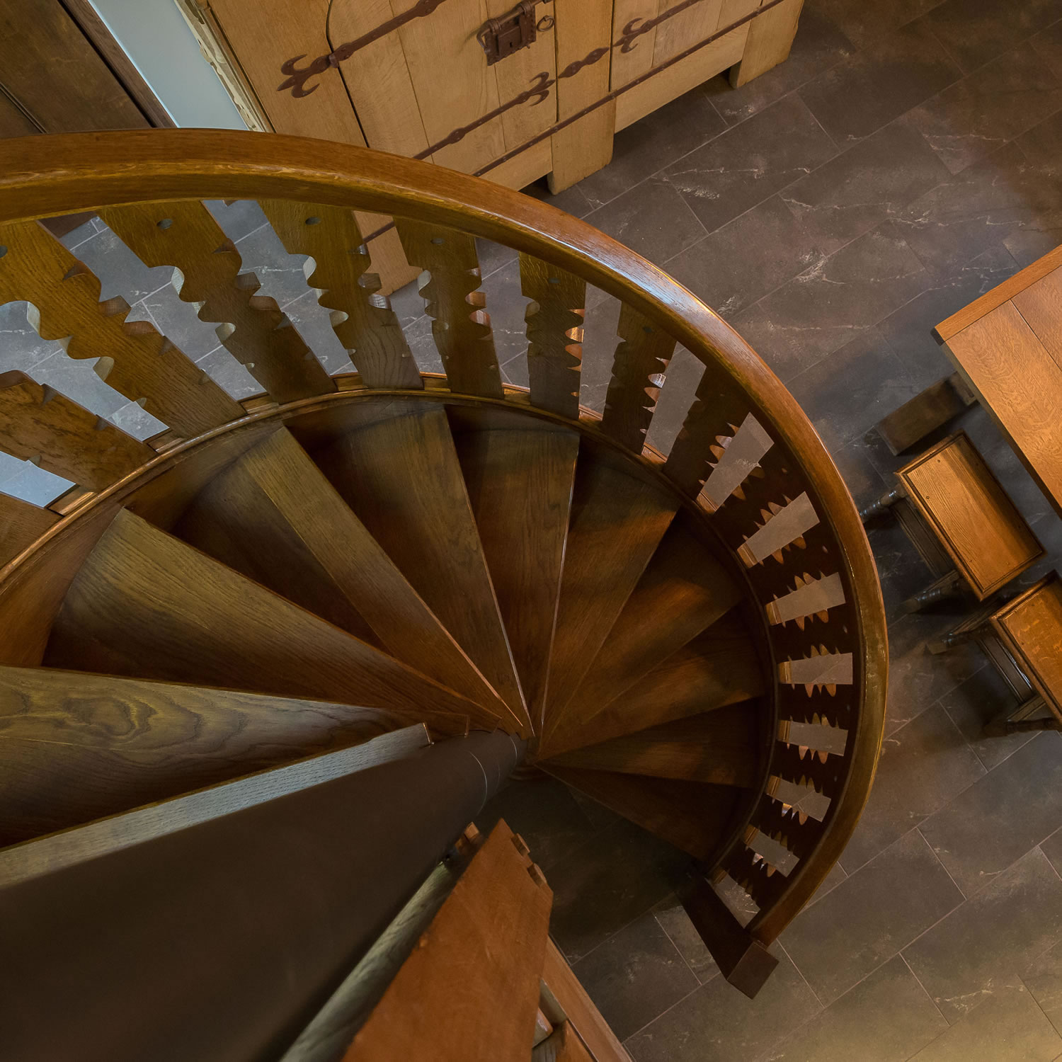 Oak spiral staircase for a barn conversion in Somerset